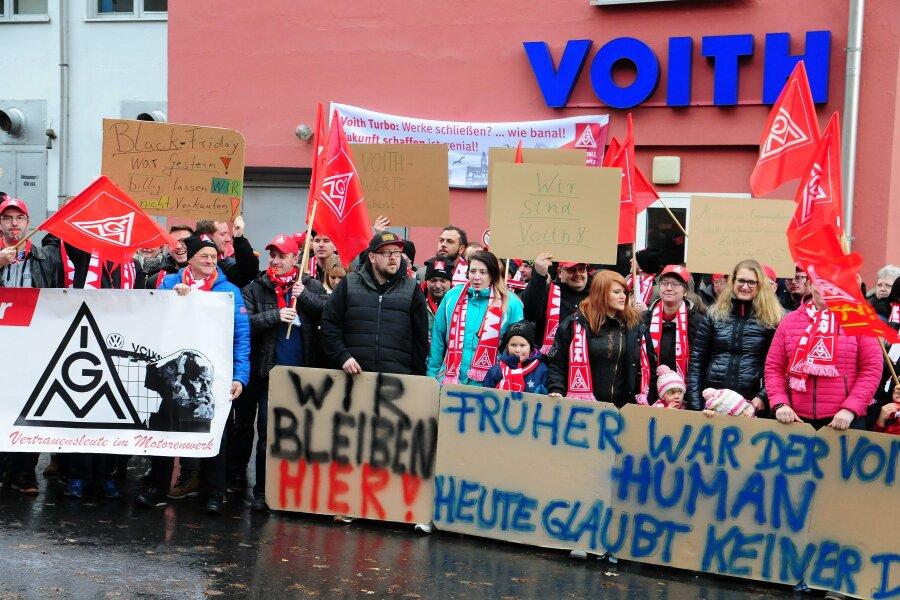 Voith-Belegschaft protestiert gegen Schließungspläne
