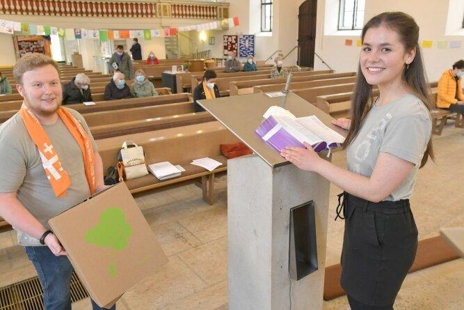 Martin Wyrwich und Tabea Mieth von der Kirchgemeinde Petri-Johannis initiierten drei Gottesdienste zum Kirchentag.