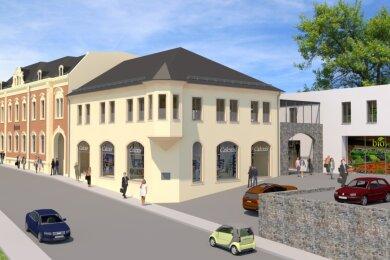 Mit der Sanierung der alten Post und dem Bau zweier Gebäude entsteht in der Schneeberger Innenstadt eine neue Passage mit Läden, Arztpraxen, Wohnungen und einem großen Parkplatz.
