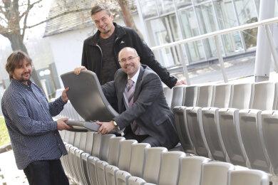 Ronny Blei, Chef des Parktheaters, Projektverantwortlicher Ludwig Düntsch und Kulturbürgermeister Steffen Zenner.