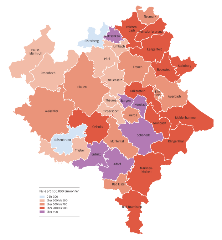 Coronadaten für jede Gemeinde im Vogtlandkreis