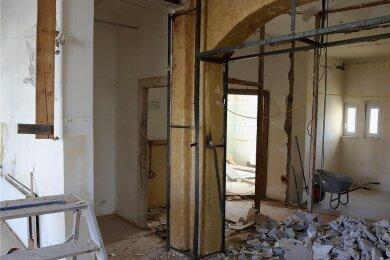 Momentan ist das Innere vom Haus der Vereine in Schwarzenberg eine Großbaustelle.