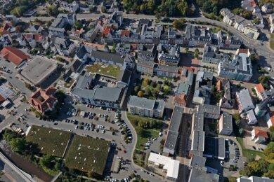 Blick auf die Innenstadt von Crimmitschau. Im Zentrumsbüro sollen Aktivitäten zur Belebung gebündelt werden.