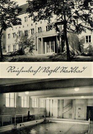 Die historische Ansichtskarte aus dem Bestand des Neuberinmuseums zeigt das Reichenbach Bad in der Zeit um das Jahr 1940.