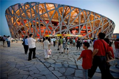 """Das auch als """"Vogelnest"""" bekannte Nationalstadion in Peking stand bereits 2008 bei den Olympischen Sommerspielen (Foto) im Mittelpunkt. Auch die Eröffnungszeremonie der Winterspiele im Februar 2022 wird dort stattfinden."""