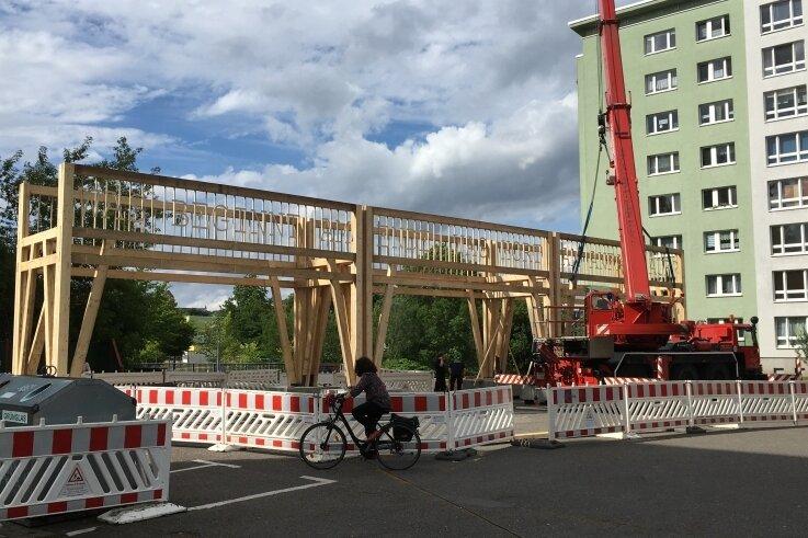 Die von einer Künstlergruppe gestaltete Holzbrücke am Stumpf der Brückenstraße: Warnbaken sollen das Objekt schützen, daneben stehen Müllcontainer. Dieses Umfeld für ein Kunstwerk kritisiert ein Leser.