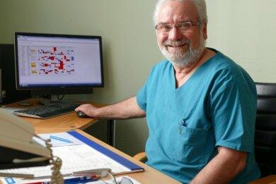 Dr. Norbert Heide, Chefarzt der Anästhesie und ärztlicher Direktor des Klinikums Mittleres Erzgebirge, hatte vorige Woche seinen letzten Arbeitstag. Zum 1. April geht er in den vorzeitigen Ruhestand.