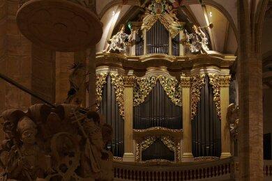 Die große Gottfried-Silbermann-Orgel im Freiberger Dom. Am Sonntagabend sind die diesjährigen Silbermann-Tage zuende gegangen.