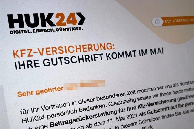 """""""Ihre Gutschrift kommt im Mai"""": Die Huk24 verrät zwar, ab wann es den Bonus geben soll, nicht aber dessen individuelle Höhe."""