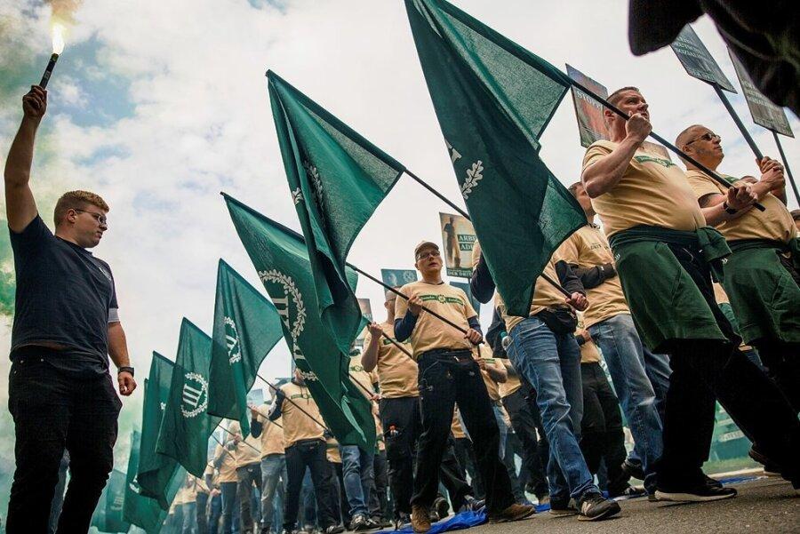 2019 in Plauen hatten Teilnehmer der Demonstration des Dritten Wegs bundesweit für Entsetzen gesorgt.