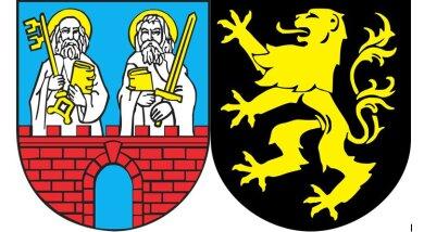 Die Wappen der Städte Striegau (links) und Auerbach.