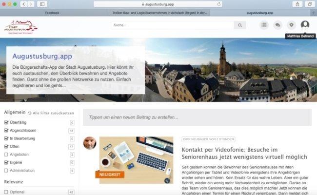 Ein Screenshot der Startseite der Bürgerschafts-App, die unter der Adresse https://augustusburg.app erreichbar ist.