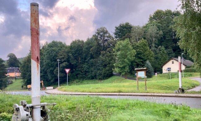 Der Anblick schmerzt: Die auf zwei Meter gestutzten Schranken am ehemaligen Bahnübergang Wilischberg in Bad Schlema.