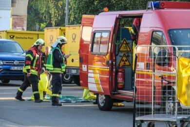 Der Erkundungswagen der Feuerwehr Beierfeld wurde nach dem Einsatz von einem Auto gerammt und schwer beschädigt.