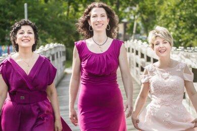 Das Trio Frauenrausch bestreitet das erste Calliope-Konzert unter dem Dach des Vereins Kammer-Musik-Welten Reichenbach. Frauenrausch, das sind von links: Sarah Stamboltsyan, Nathalie Senf und Jana Büchner - die im Park der Generationen allein für den Fotografen aufgetreten sind.