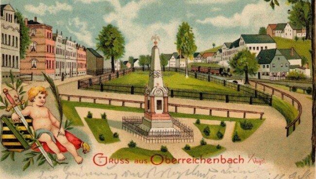 Die historische Ansichtskarte zeigt das Denkmal in Oberreichenbach für die Gefallenen des Krieges von 1870.