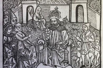 Historische Darstellung vom Gericht der Götter über die Bergleute inKottenheide.