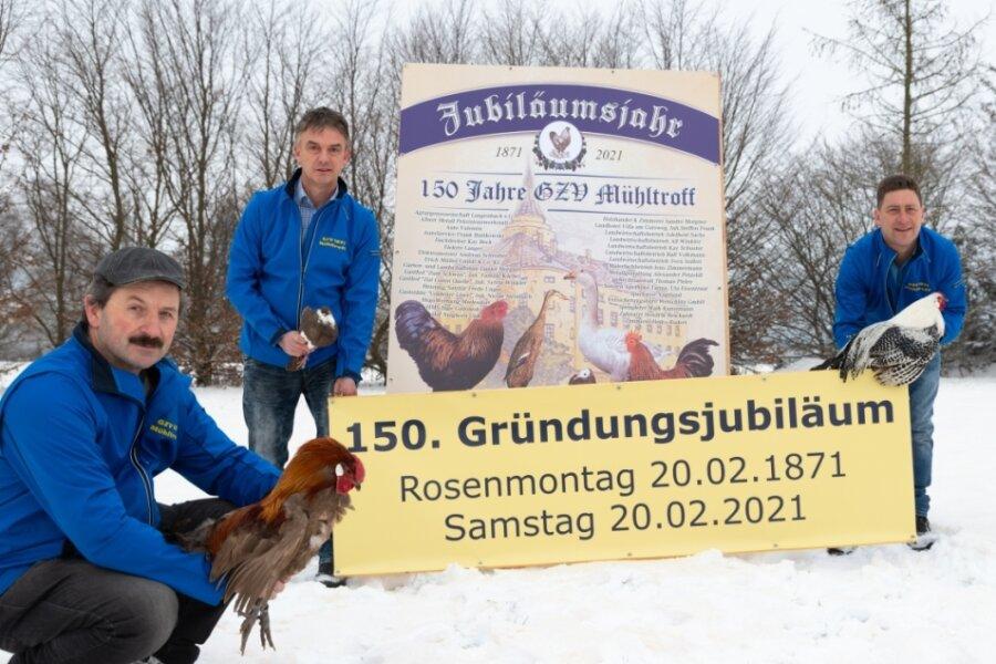 Haben das Jubiläum ihres Vereins im Blick: Carsten Weiß, Ralf Schinnerling und Maik Lorenz vom Mühltroffer Geflügelzüchterverein.