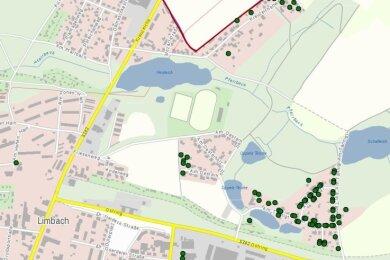 Gebäude, die vom Breitbandausbau profitieren, sind auf der interaktiven Karte des Landkreises mit einem grünen Punkt versehen. In Limbach betrifft dies unter anderem Häuser an den Straßen Am Tännigt, Am Oesterholz und Kreuzeichenweg.