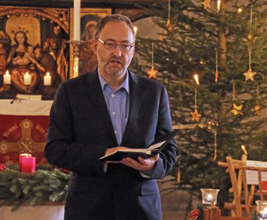 Michael Suschke vom Kirchenvorstand der Jakobi-Christopherus-Gemeinde Freiberg besuchte den Gottesdienst in Oberbobritzsch.