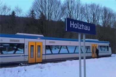 Endstation: Die Freiberger Eisenbahn fährt heute noch bis nach Holzhau. Wenige Meter hinter dem Bahnhof endet das Gleis.