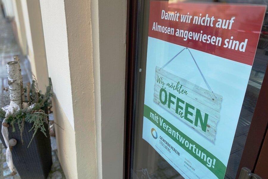 Die Gewerbetreibenden in Stollberg sind mit der Geduld am Ende und wollen wieder geregelt für die Kunden öffnen.