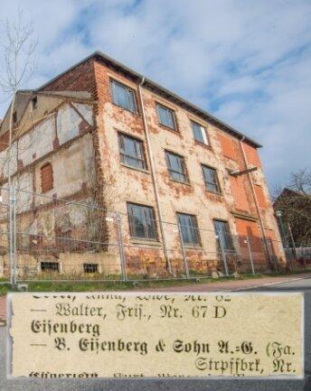 Die frühere Tischler-PGH an der August-Bebel-Straße in Niederdorf. Bis in die 1930er-Jahre war in dem Komplex eine Strumpffabrik ansässig. Die im örtlichen Adressverzeichnis (Ausgabe 1929) erwähnte Eigentümerfirma hatte einst Stefan Heyms Urgroßvater Bernhard Eisenberg in Zschopau gegründet.