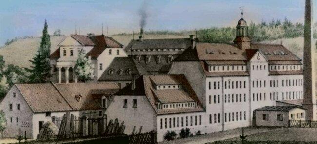 Ansicht der Bernhardschen Spinnerei in Harthau von 1860. Das Spinnmühlengebäude befindet sich in der Mitte (mit rauchendem Schornstein), der Erweiterungsbau mit Turm vorn. Hinten links steht das als letztes gebaute Kontorhaus.