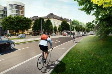 Geht es nach den Fachleuten, sollten die Bahnen künftig in der Mitte der Theaterstraße fahren. Vorteile laut den Planern: Deutlich geringere Belastungen für Anlieger (Lärm, Erschütterungen usw.), weniger Konflikte mit dem übrigen Verkehr, mehr Platz für Bäume und sonstiges Grün.