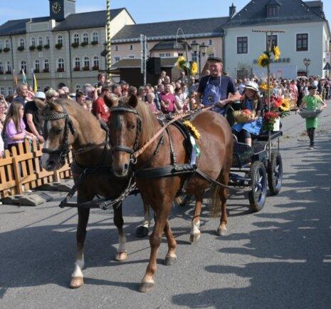 Zum Festumzug der Pferdesportvereine gab es in Zwönitz insgesamt 28 verschiedene Schaubilder zu bestaunen.
