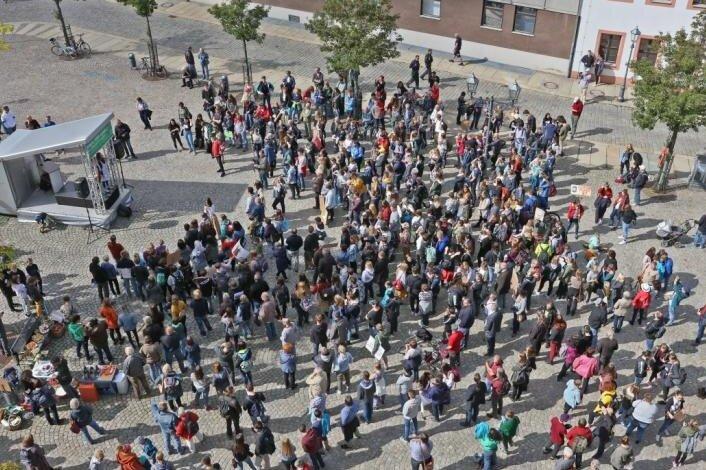 Teilnehmer des Klimastreiks am 20. September auf dem Zwickauer Kornmarkt.