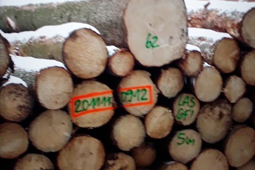 Holzpolter wie diese finden sich in allen Wäldern Sachsens. Und es ist gar nicht so schwer, die Beschriftung darauf zu lesen, wenn man weiß, wie's geht.