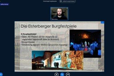 Jeffrey Döring lud zur Online-Besprechung für die Burgfestspiele Elsterberg ein.Foto: Petra Steps