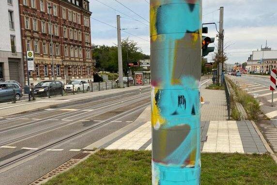 Erneut Blitzer an Zwickauer Straße beschmiert