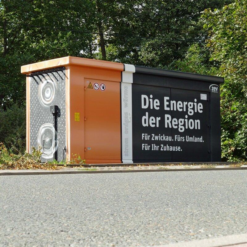 Die umgestaltete Gasdruckregelanlage an der Crimmitschauer Straße in Zwickau.