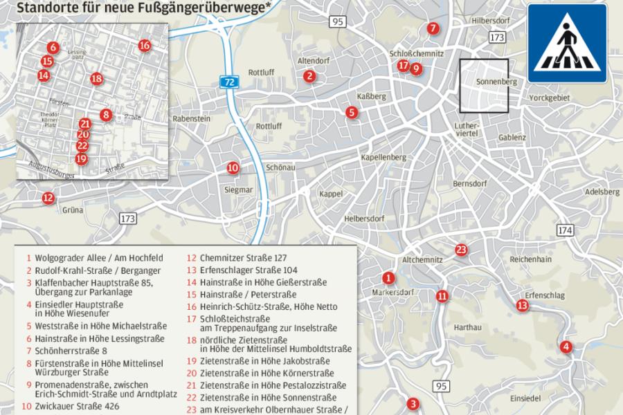Chemnitz: Hier prüft das Rathaus neue Zebrastreifen