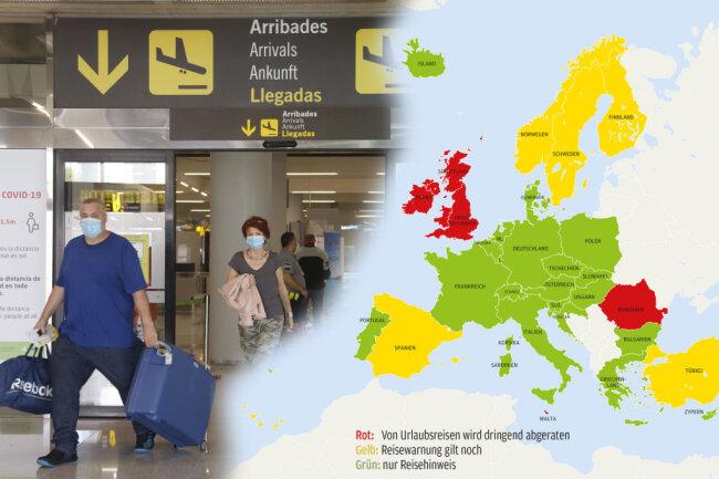 Grün: Hier gelten nur Reisehinweise. Gelb: Hier gilt die Reisewarnung noch. Rot: Von Urlaubsreisen wird dringend abgeraten.