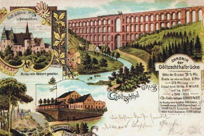Historische Ansichtskarte zur Göltzschtalbrücke aus der Sammlung von Dr. Peter Beyer. Repro: Wolfgang Richter