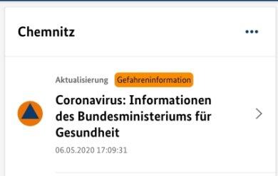 """So sieht sie aus, die Warnapp """"NINA"""", die nun auch Chemnitz nutzt."""