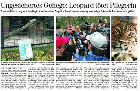 """So berichtete """"Freie Presse"""" 2006 über den Angriff eines Leoparden im Tierpark Chemnitz."""