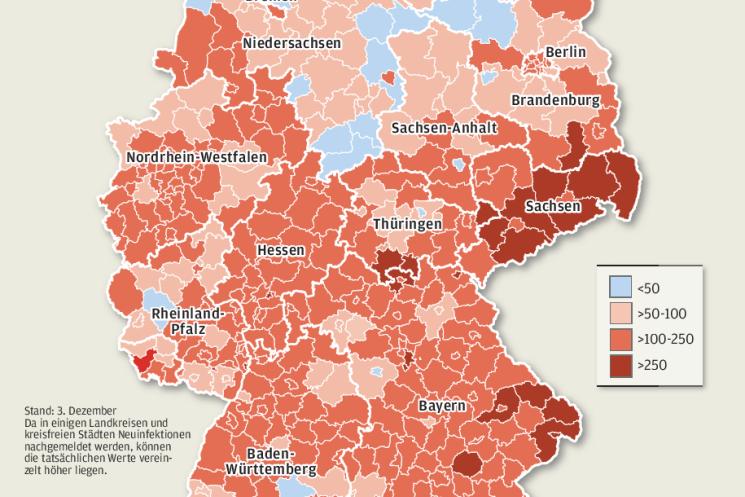 Sechs der zehn deutschen Hotspot-Regionen sind in Sachsen