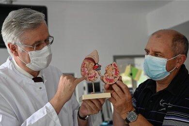 Die Punkte am Rand des Nierenmodells symbolisieren die Nierenkörperchen. Bei Patienten wie Mike Nitzsche aus Chemnitz (re.) arbeiten sie nicht mehr. Professor Torsten Siepmann, Chefarzt der Klinik für Nephrologie am Klinikum Chemnitz (li.), behandelt Hunderte von ihnen.