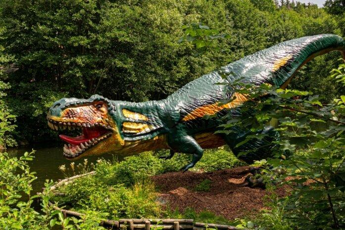 Auf einer Landzunge am Kurs von Feuersteins Kanonenbooten treffen die Besucher auf den neusten Mitbewohner der Urzeitwelt in der Plohnbachaue: einen 14 Meter langen Tyrannosaurus.