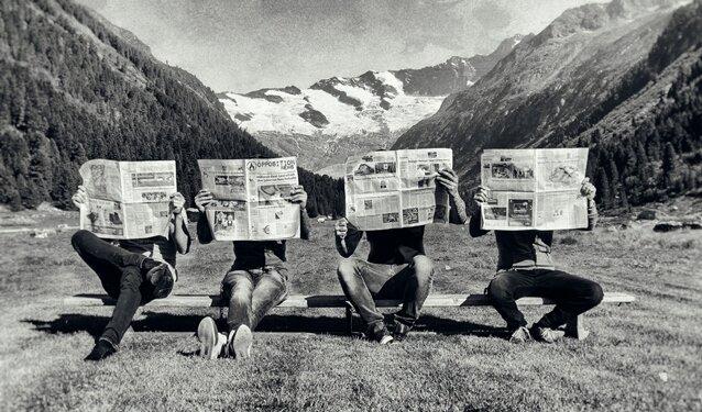 """Die Musiker von Freiwild auf einem der offiziellen Promo-Fotos zur neuen CD """"Opposition""""."""