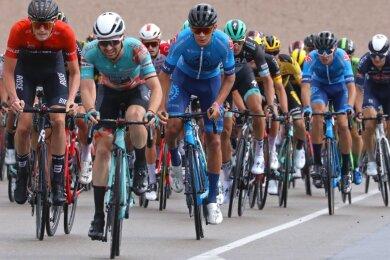 Die Deutsche Meisterschaft im Straßenradsport auf dem Sachsenring war im August für Tom Lindner (Dritter von links) der Höhepunkt einer kurzen Saison.