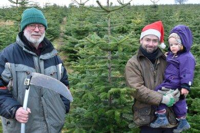 Auf einer Plantage zwischen Gettengrün und Bergen wachsen biologische Bäume. Im Foto die Besitzer Dietmar Feiler (links) und Christoph Knoche mit Töchterchen Juliane.