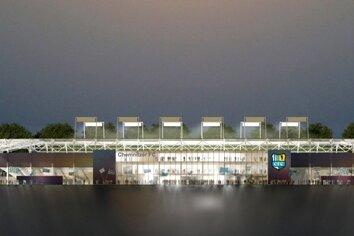 Der Entwurf des neuen CFC-Stadions an der Gellertstraße: Die Arena soll um das bestehende Spielfeld gebaut werden, über 15.000 Plätze und einen komplett überdachten Zuschauerbereich verfügen.