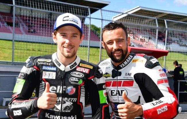 Die Rennfahrer Philpp Öttl (l.) und Randy Krummenacher vom AMC Sachsenring sind international sehr erfolgreich.
