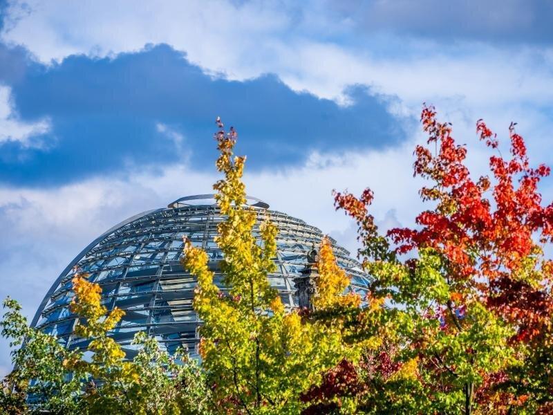 Die Kuppel auf dem Deutschen Bundestag hinter bunt gefärbten Laubbäumen. In den kommenden Tagen finden zahlreiche Gespräche über die Bildung der künftigen Regierung statt.