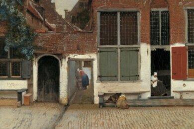 Häuseransicht in Delft (Die kleine Straße), um 1658. Auch dieses Vermeer-Gemälde kann bis Januar 2022 im Zwinger angeschaut werden.
